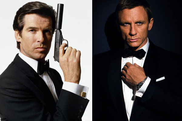 007 Character displaying the dressing of old and new James Bond