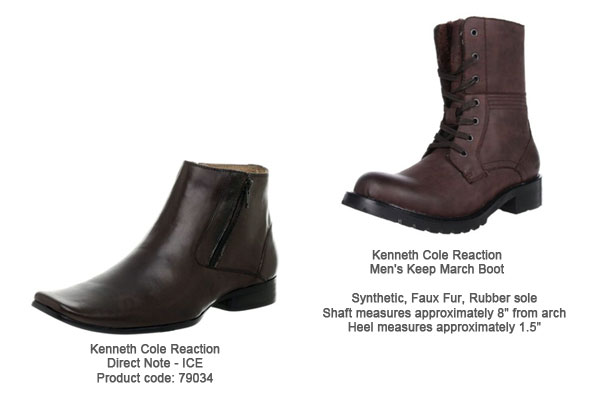 Kenneth Cole Reaction Brown Boots, Direct Note - ICE