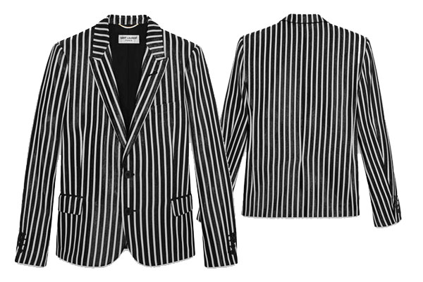 YSL Paris - Mens Jacket with Peak Lapel in Black and White Striped Polyester