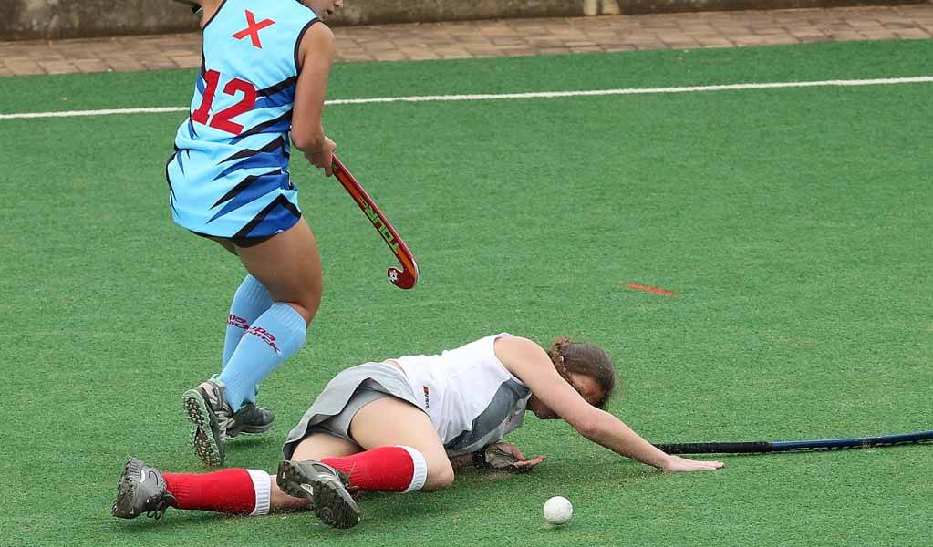 Girls get injured playing hockey